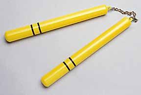 Yellow Plastic Nunchucks with Black Stripes